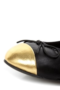Restricted Mocha Black and Gold Elasticized Cap-Toe Ballet Flats at Lulus.com!