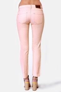 Quiksilver Tama Crop Peach Polka Dot Skinny Jeans at Lulus.com!