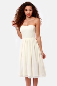 Someday Sweetheart Strapless Ivory Midi Dress at Lulus.com!