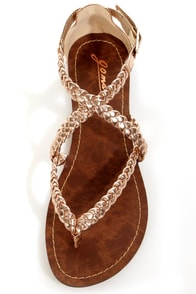 GoMax Berdine 53 Rose Gold Metallic Braided Gladiator Sandals at Lulus.com!