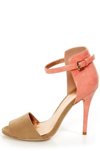 GoMax Calantha 01 Peach and Taupe High Rise High Heels
