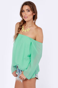 LULUS Exclusive Landslide Off-the-Shoulder Mint Green Top at Lulus.com!