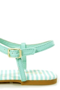 Bamboo Macalen 06 Mint Stripe and Gold T-Strap Thong Sandals at Lulus.com!