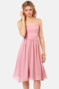 Someday Sweetheart Strapless Blush Pink Midi Dress at Lulus.com!
