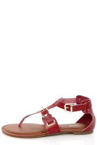 Bamboo Jazibel 05 Red Double T-Strap Thong Sandals at Lulus.com!