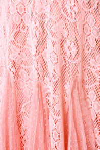 Chills and Frills Peach Lace Dress at Lulus.com!
