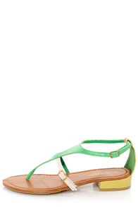 C Label Cabana 2A Green and Yellow Snake Thong Sandals at Lulus.com!