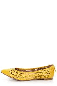 Restricted New Wave Yellow Perforated Cap-Toe Pointed Flats at Lulus.com!