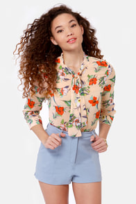 New Hire-biscus Peach Floral Print Top at Lulus.com!