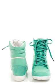 Bamboo Bethany Mint Perforated High Top Wedge Sneakers at Lulus.com!