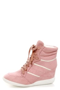 Bamboo Bethany Pink Perforated High Top Wedge Sneakers