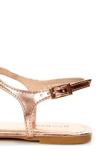 Bamboo Morris 78 Rose Gold Metallic Thong Sandals at Lulus.com!
