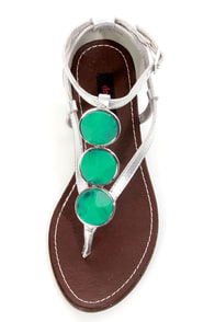 Dollhouse Island Silver and Turquoise Embellished Thong Sandals at Lulus.com!