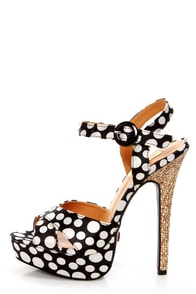 Promise Jerri Black and White Polka Dot Platform Heels at Lulus.com!