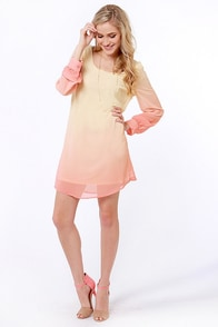 Roll the Dyes Beige and Coral Ombre Dress at Lulus.com!
