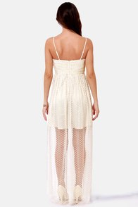 Benefit of the Dot Ivory Lace Maxi Dress at Lulus.com!