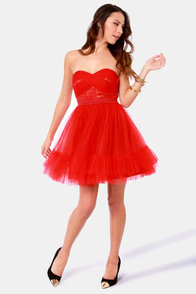 Poof in the Pudding Strapless Red Dress at Lulus.com!