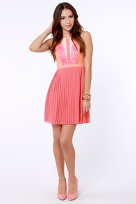 Classy Eyes Coral Lace Dress at Lulus.com!
