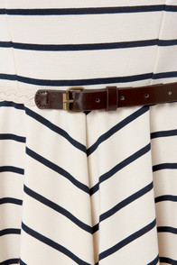 Lost Shirley Navy and Cream Striped Dress at Lulus.com!