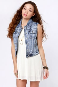 Lost Wallace Distressed Denim Vest