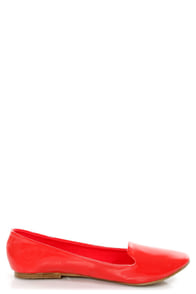 Mixx Shuz Leah Coral Patent Smoking Slipper Flats at Lulus.com!