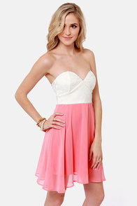 Ta-ra-ra Bustier! Ivory and Coral Dress