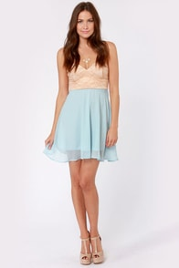 Ta-ra-ra Bustier! Nude and Light Blue Dress at Lulus.com!