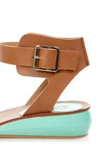 Kelsi Dagger Genna Jade and Cognac Ankle Cuff Sandals at Lulus.com!