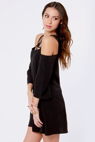 Arms Wide Open Off-the-Shoulder Black Dress at Lulus.com!