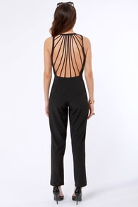 A New Strap-ter Black Backless Jumpsuit at Lulus.com!