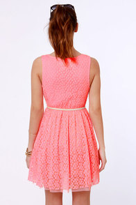 Lost Moxie Neon Pink Lace Dress at Lulus.com!