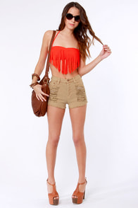 Roxy Fringe Coral Orange Bandeau Bikini at Lulus.com!