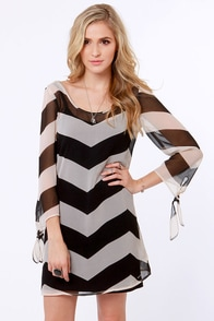 Roxy La Luna Black and Ivory Striped Shift Dress at Lulus.com!