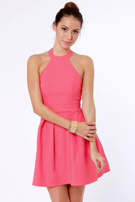 Floating on Flare Pink Halter Dress