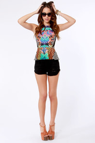 Carnival-ley Girl Print Peplum Top at Lulus.com!