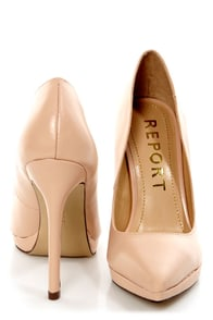 Report Tulipe Nude Leather Pointed Pumps at Lulus.com!