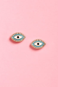 The Eyes Have It Blue Eye Earrings at Lulus.com!
