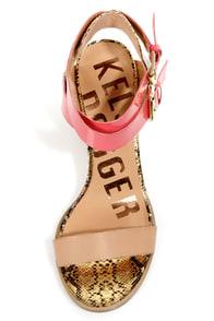 Kelsi Dagger Carmanita Mocha and Coral Snake Print Chunky Heels at Lulus.com!