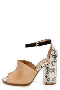 Kelsi Dagger Georgie Tan, Black, and Snake Print Slide Heels