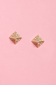 Beside the Point Gold Pyramid Earrings at Lulus.com!