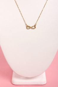 Infinity for Two Gold Rhinestone Necklace at Lulus.com!