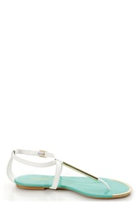 Wild Diva Lounge Tabiana 01B White and Gold Thong Sandals at Lulus.com!
