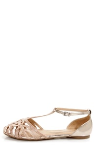 Wild Diva Lounge Starla 140A Beige and Gold Snake Cage Flats