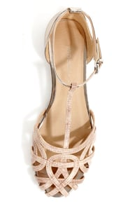 Wild Diva Lounge Starla 140A Beige and Gold Snake Cage Flats at Lulus.com!