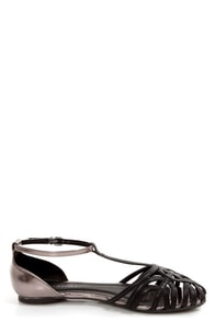 Wild Diva Lounge Starla 140A Black and Pewter Cage Flats at Lulus.com!
