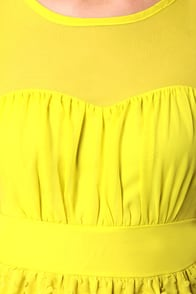 Chemistry Between Us Chartreuse Dress at Lulus.com!