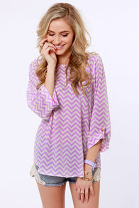 Fits and Squiggles Lavender and White Striped Top