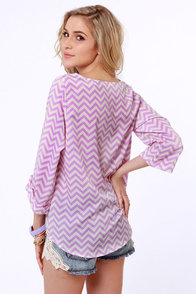 Fits and Squiggles Lavender and White Striped Top at Lulus.com!