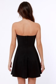Roll With the Plunges Strapless Black Dress at Lulus.com!