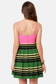 Stripe-ographic Wearer Pink Striped Dress at Lulus.com!
